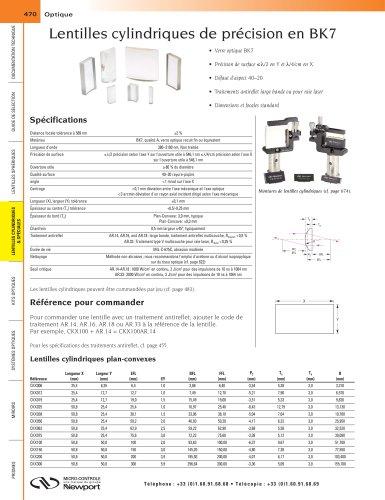 Lentilles cylindriques de précision en BK7