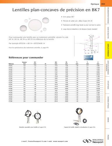 Lentilles plan-concaves de précision en BK7