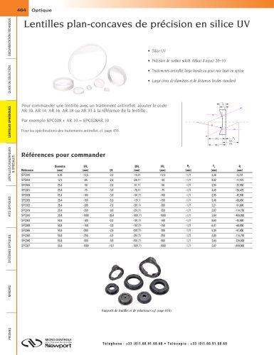 Lentilles plan-concaves de précision en silice UV