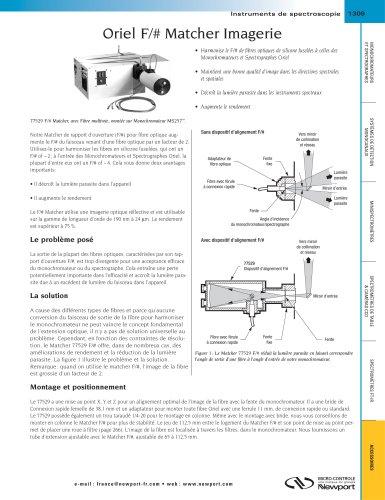 Oriel F/# Matcher Imagerie, Blocs de lentilles de mise au point X-Y-Z pour spectromètres modulables Oriel