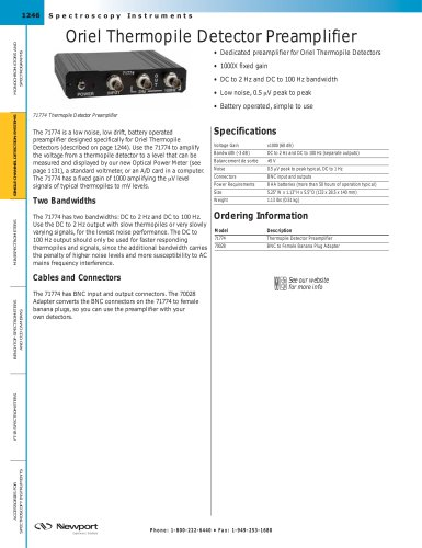 Oriel Thermopile Detector Preamplifier