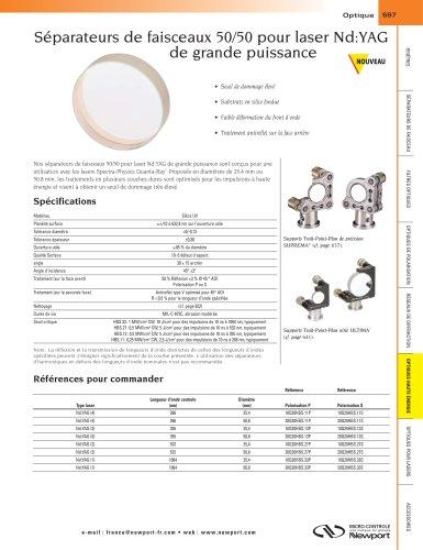 Séparateurs de faisceaux 50/50 pour laser Nd:YAG de grande puissance