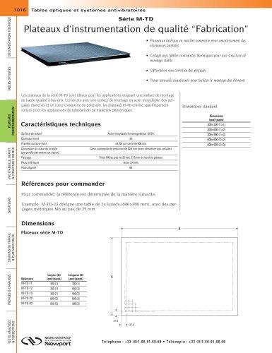 """Série M-TD Plateaux d'instrumentation de qualité """"Fabrication"""""""