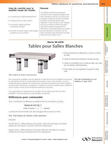 Série M-UCS Tables pour Salles Blanches