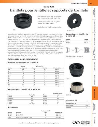 Série X26 Barillets pour lentille et supports de barillets