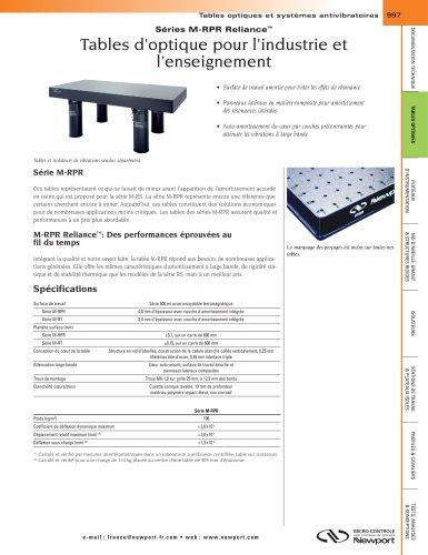 Séries M-RPR Reliance™ Tables d'optique pour l'industrie et l'enseignement, Tables modulaires assemblées