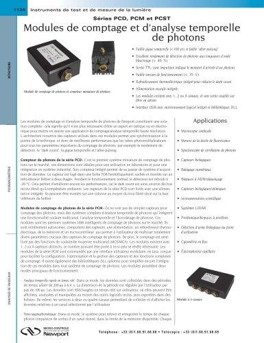 Séries PCD, PCM et PCST Modules de comptage et d'analyse temporelle de photons
