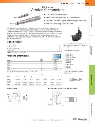 SM Series Vernier Micrometers
