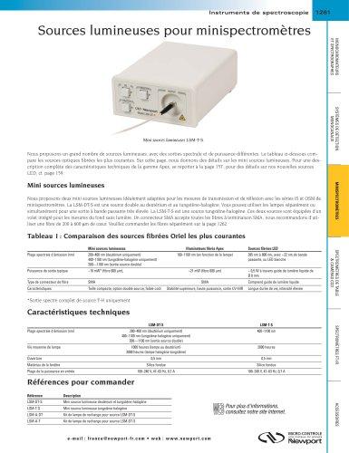 Sources lumineuses pour minispectromètres