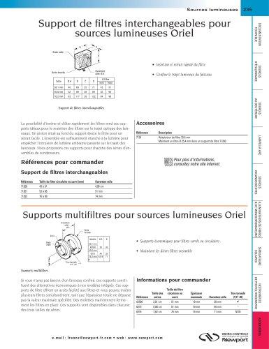 Support de filtres interchangeables pour sources lumineuses Oriel