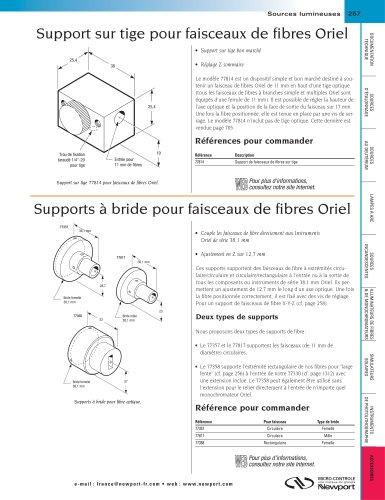 Support sur tige pour faisceaux de fibres Oriel, Supports à bride pour faisceaux de fibres Oriel