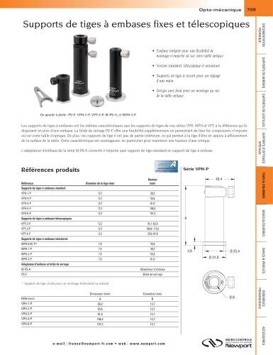 Supports de tiges à embases fixes et télescopiques