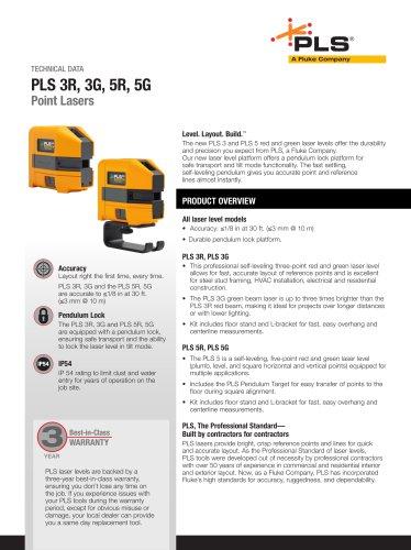 PLS 3R, 3G, 5R, 5G Point Lasers