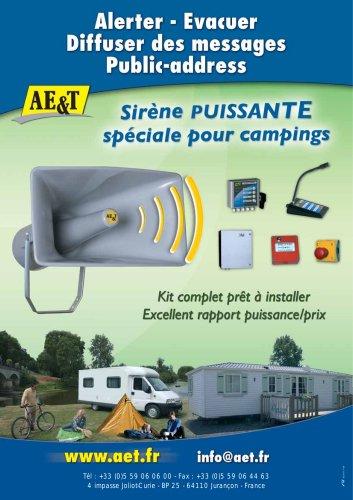 Sirène puissante spéciale pour Campings