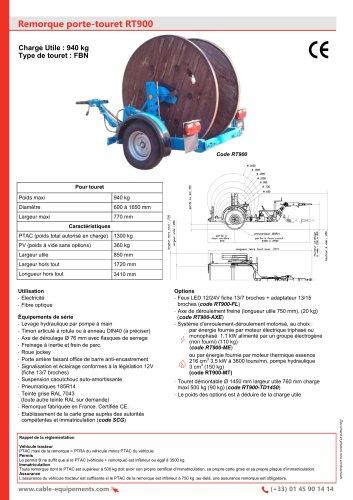 Remorque porte-touret RT900