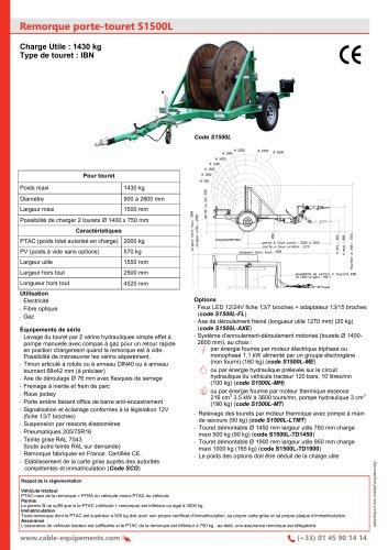Remorque porte-touret S1500L
