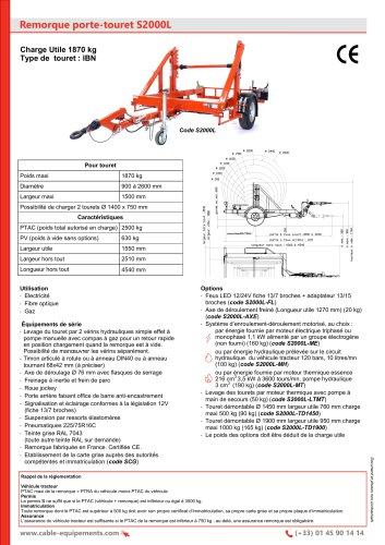 Remorque porte-touret S2000L