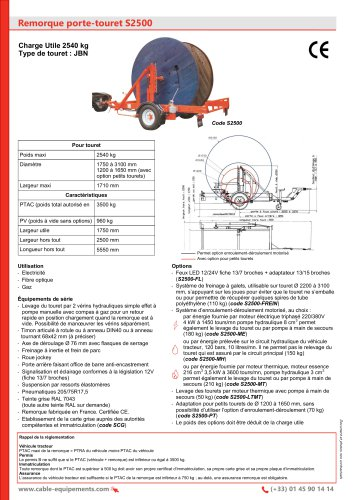 Remorque porte-touret S2500