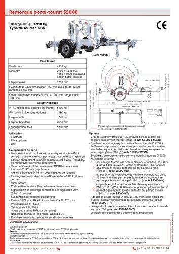 Remorque porte-touret S5000