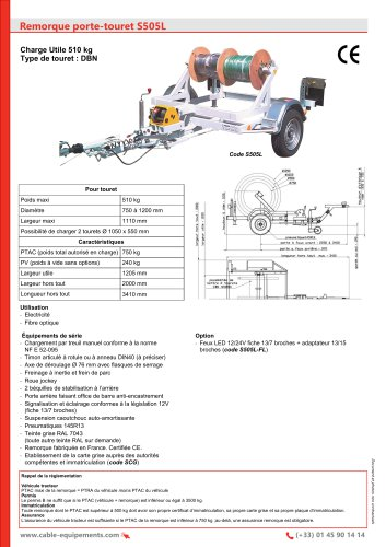 Remorque porte-touret S505L