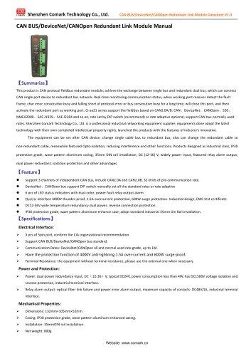 CAN Module de liaison redondante BUS / DeviceNet / CANopen