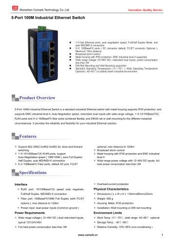Comark 5-port 100M Industrial Ethernet Switch  CK20xx