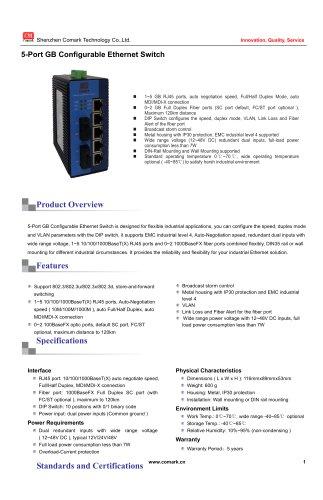 Comark 5-port Gigabit Configurable Industrial Ethernet Switch  CK30xxC
