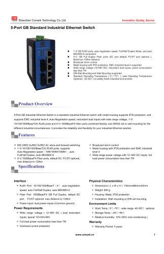 Comark 5-port Gigabit Industrial Ethernet Switch