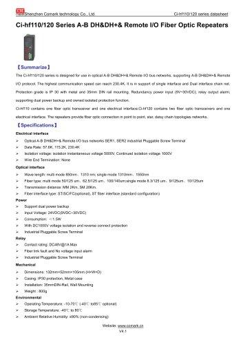 Comark A-B DH&DH+& Remote I/O Fiber Optic Repeaters Ci-HF110/120
