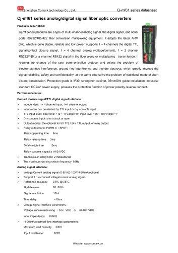 Comark anolog/digital/serial signal fiber optic converters Cj-mf series in Monitoring system