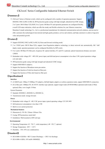 Comark Configurable 100M Industrial Ethernet Switch CK2xxxC Series