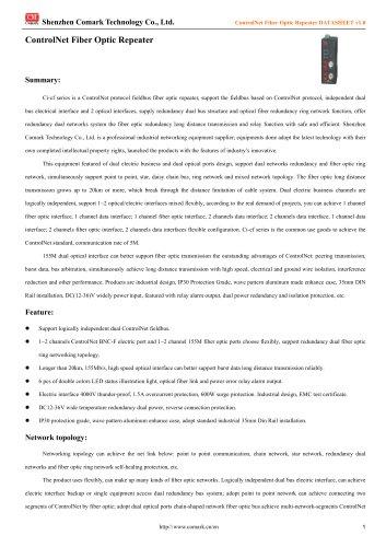 Comark ControlNet Fiber Optic Repeater Ci-CF110/120