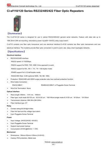 RS232/485/422 Fiber Optic Repeater