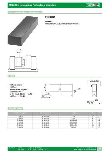 01160 Bloc rectangulaire Fonte grise et aluminium