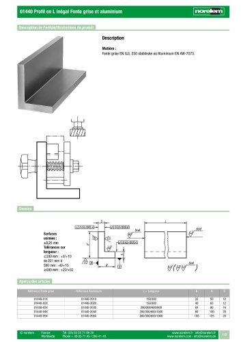 01440 Profil en L inégal Fonte grise et aluminium
