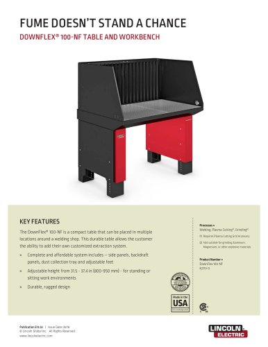 DOWNFLEX® 100-NF TABLE AND WORKBENCH