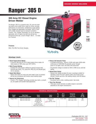 Engine-Driven Welders (Powered by Diesel Engines) Ranger® 305 D