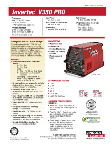 Invertec® V350 PRO Multi-Process Welder
