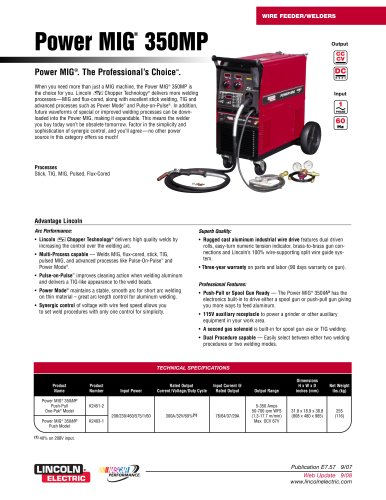 MIG Welders - Integrated Power Source and Wire Feeder  Power MIG 350MP