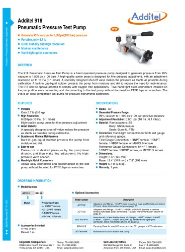 Additel 918 Pneumatic Pressure Test Pump