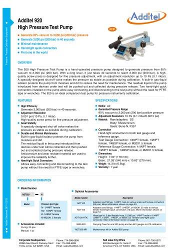 Additel 920 Pneumatic High Pressure Test Pump