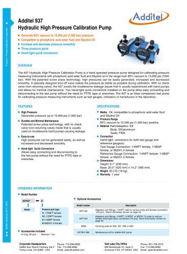 Additel 937 Hydraulic High Pressure Calibration Pump (Skydrol Oil)
