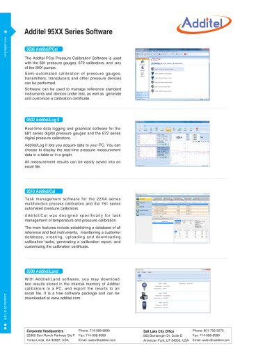 Additel 95XX Series Pressure measurement, testing and calibration software