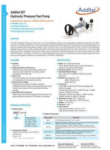 Hydraulic Pressure Test Pump Additel 927