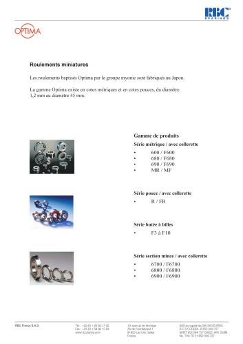 Roulements miniatures