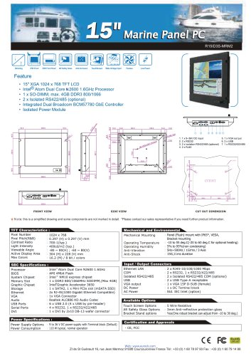 "15"" marine panel PC"