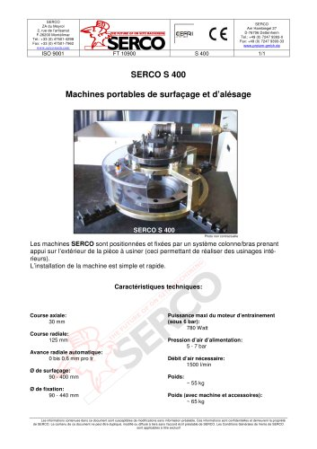 Machines portables de surfacage et d´alésage - Serco S400