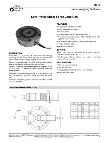 Low Profile Shear Force Load Cell CLC