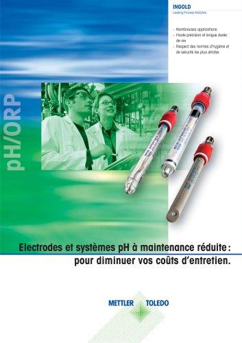Electrodes et systèmes pH à maintenance réduite