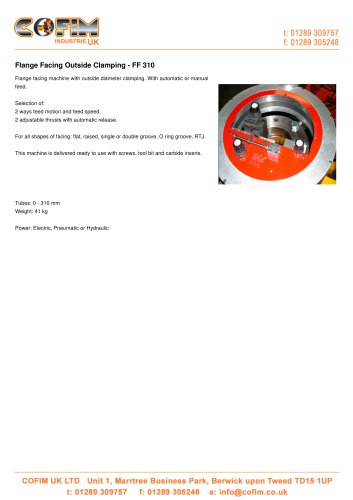 FF 310 Flange Facing Outside Clamping